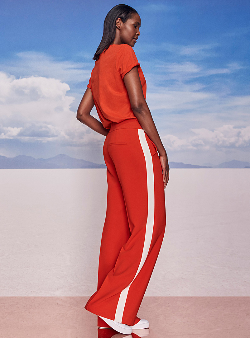 Dazzle contrast band scarlet pant - Collections - Red