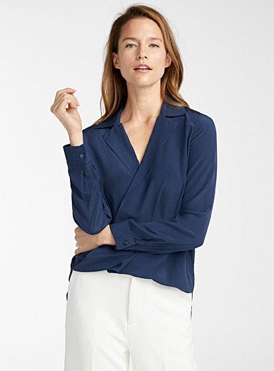 Judith & Charles Sapphire Blue Gehry silk crossover blouse for women