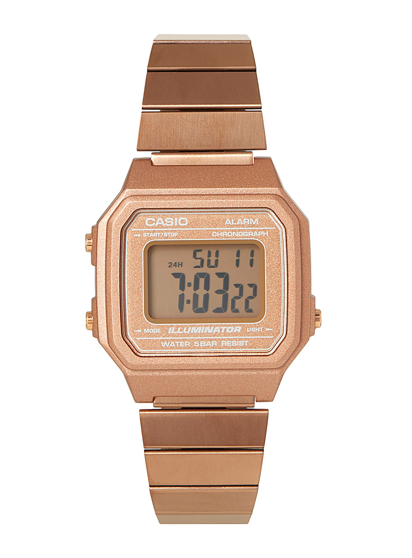 Casio Dusky Pink Retro rose gold digital watch for women