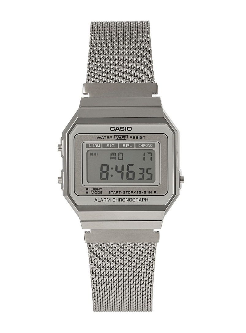 Retro silver digital watch