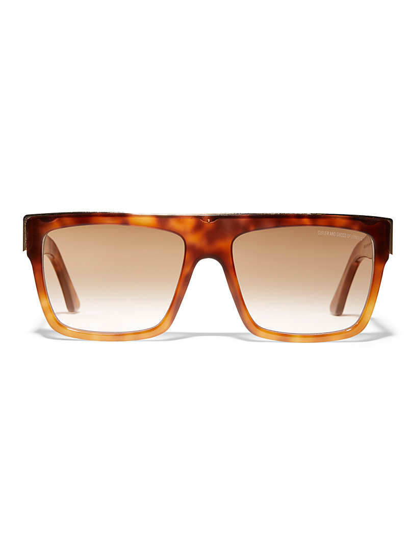Cutler and Gross Light Brown Oversized rectangular sunglasses for women