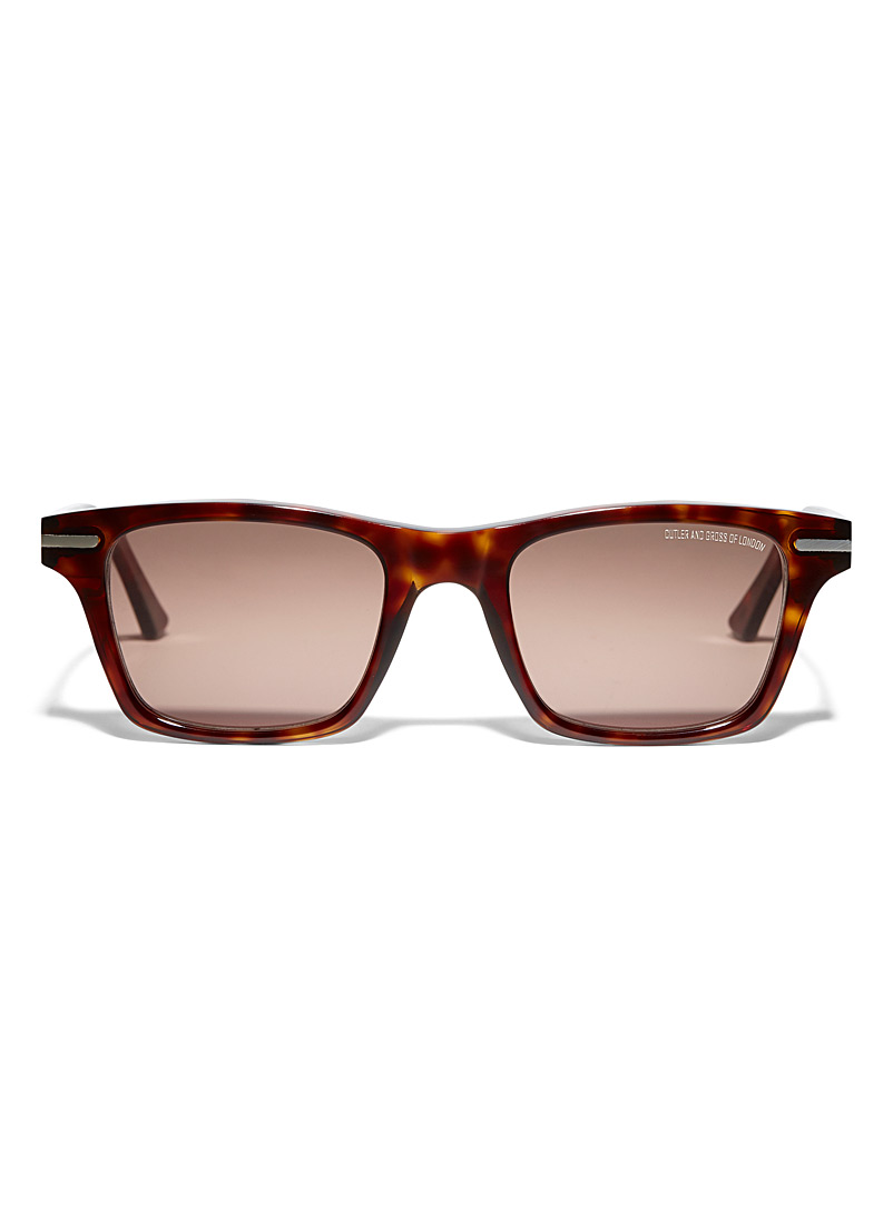 Cutler and Gross Light Brown Tortoiseshell rectangular sunglasses for women