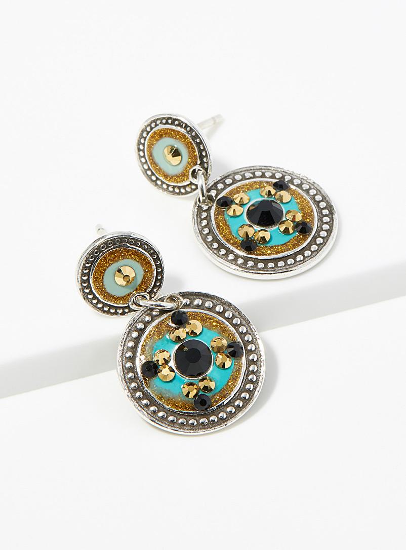 Sequin silver earrings - Earrings - Patterned Yellow