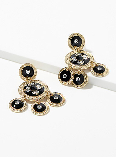 Black enamel Sequin gold earrings