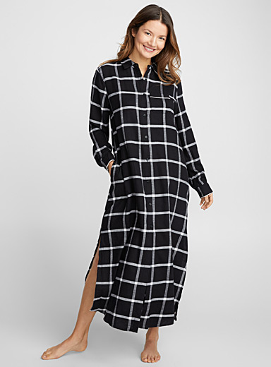 Long black and white check nightshirt