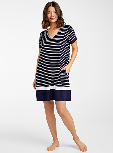 Donna Karan Patterned White V-neck striped nightgown for women