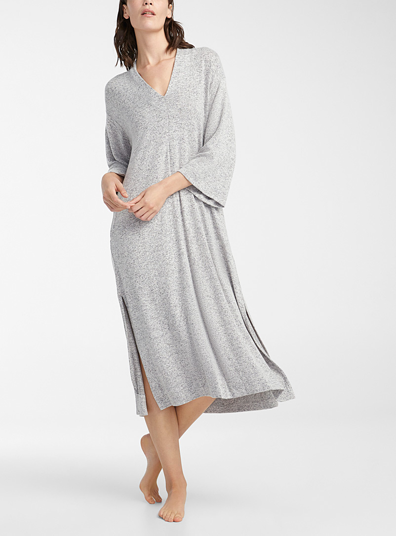 Donna Karan Light Grey Ultra soft lounge caftan for women