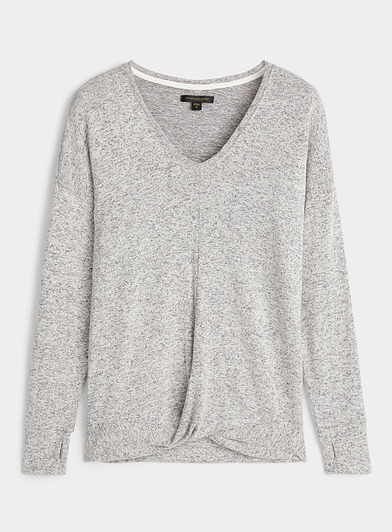 Donna Karan Light Grey Knotted-like lounge sweater for women