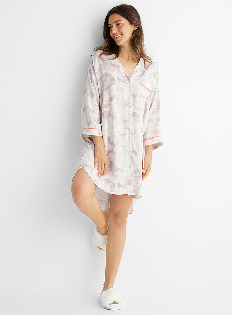 Donna Karan Patterned White Faded flower nightshirt for women