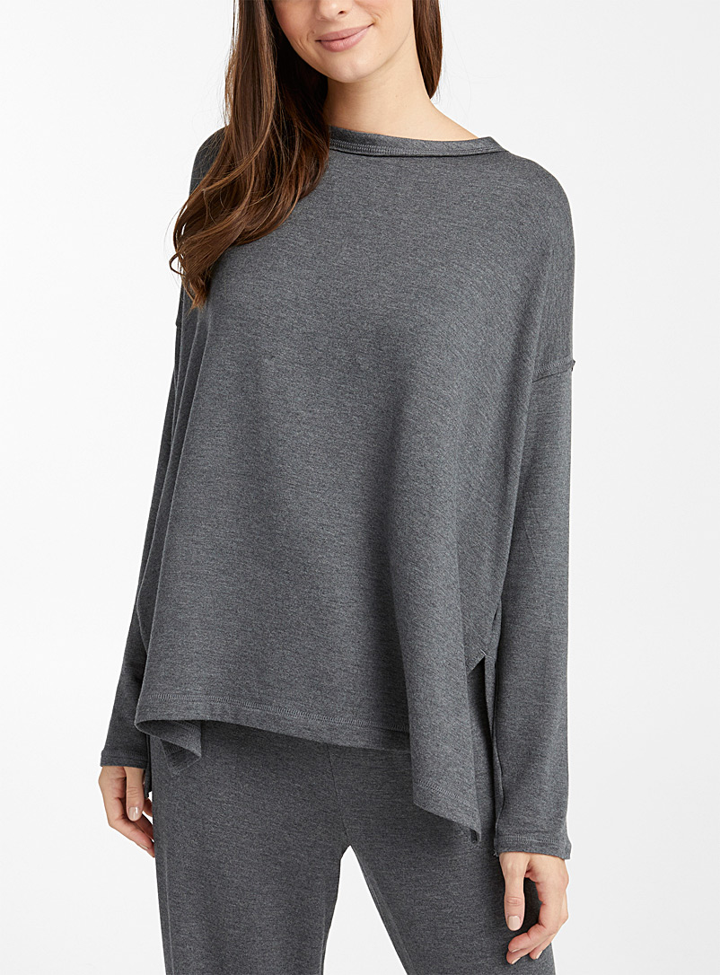 Donna Karan Charcoal Charcoal grey cotton fleece-lined loose tee for women
