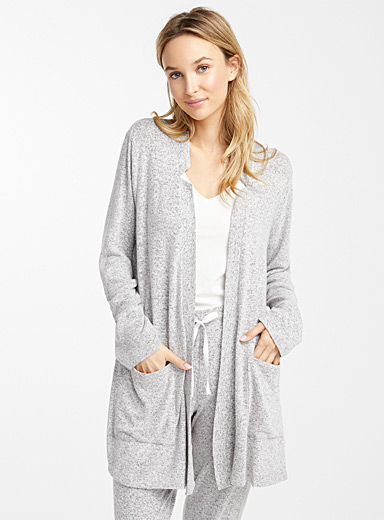 Heather grey lounge cardigan robe