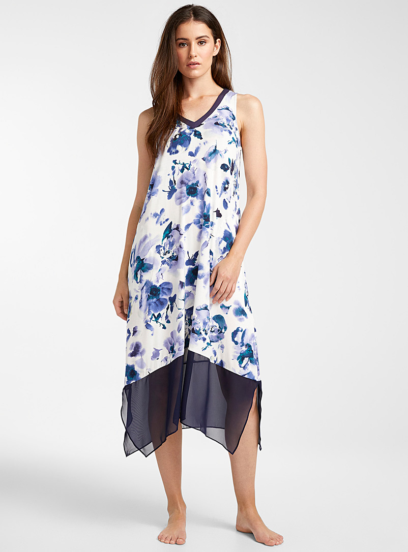 Donna Karan Patterned White Nocturnal painterly tank nightgown for women
