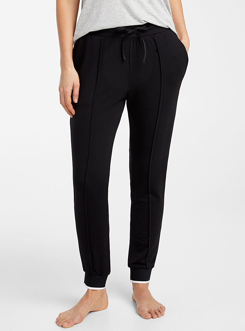 Donna Karan Black White trim joggers for women