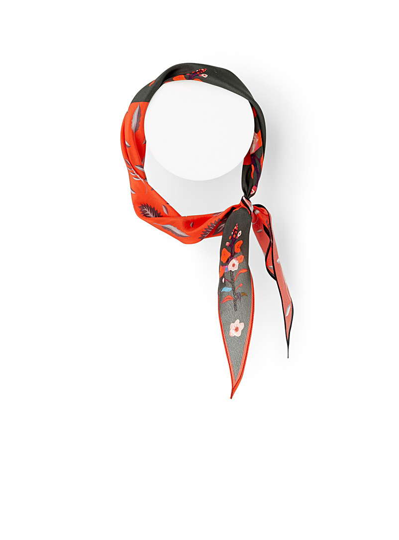 Simons Patterned orange Floral art scarf for women