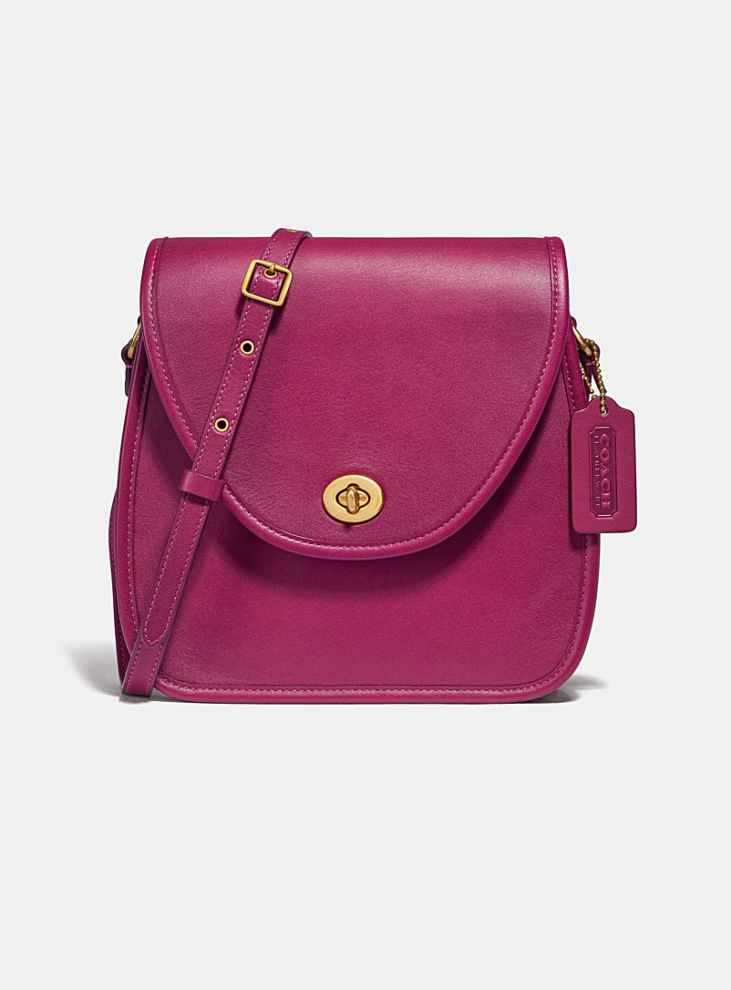 Coach Pink Turnlock flap square pouch for women