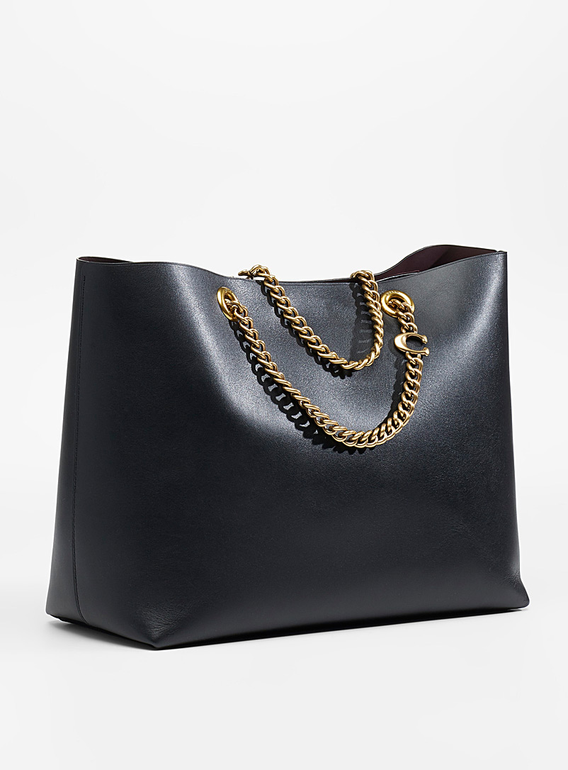 Coach Black Signature chain Central tote for women