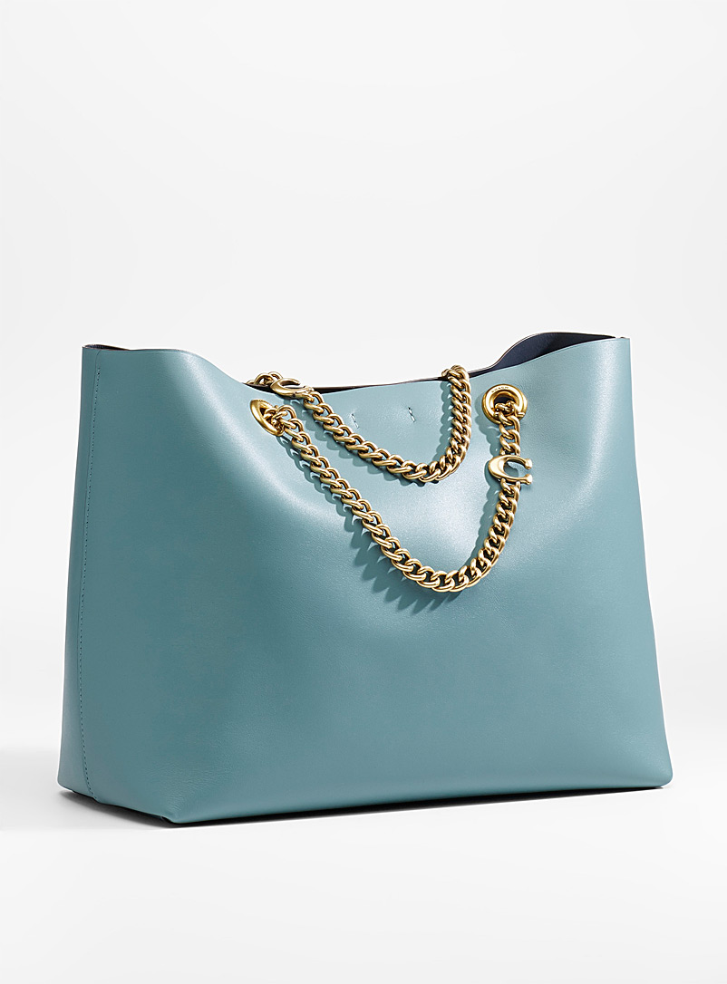Coach Slate Blue Signature chain Central tote for women