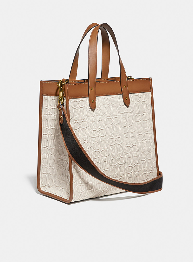 Coach Assorted beige Signature canvas Field tote bag for women