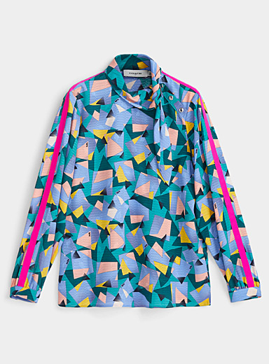 Geo collage tie blouse