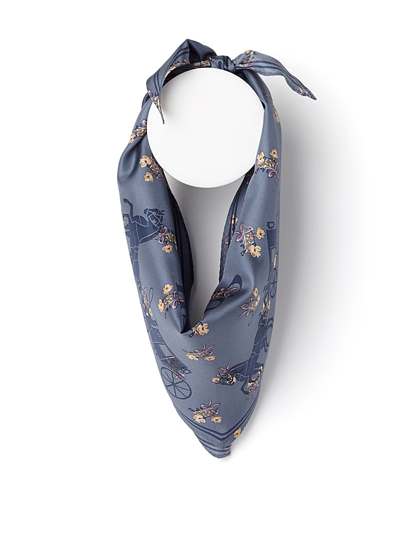 Horse and Carriage Diamond scarf - Light scarves - Patterned Blue