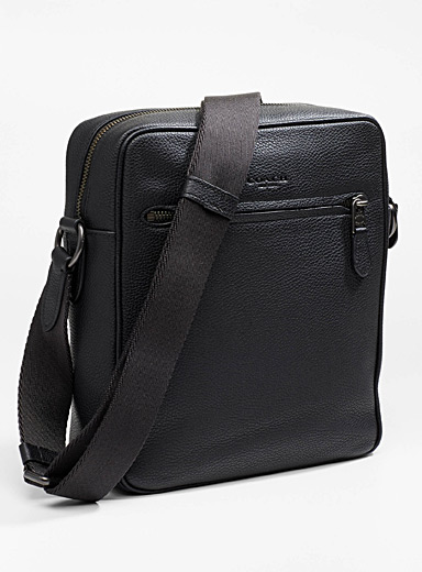 Genuine grained leather shoulder bag