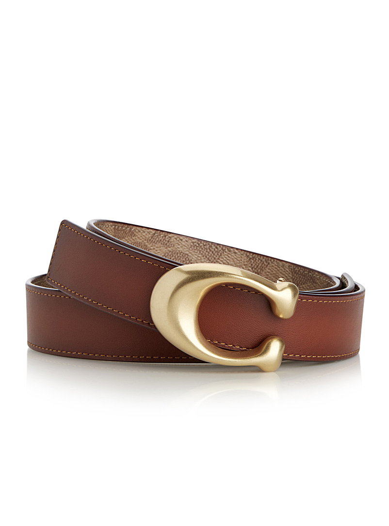 Signature reversible belt - Accessories - Patterned Brown