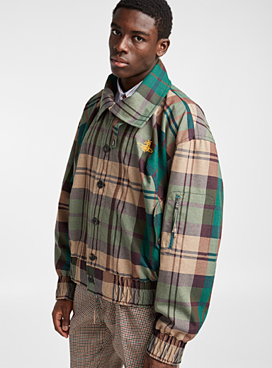 Oversized green tartan jacket