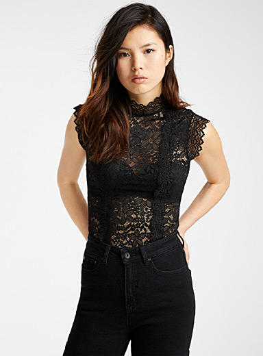 Black lace Victorian top