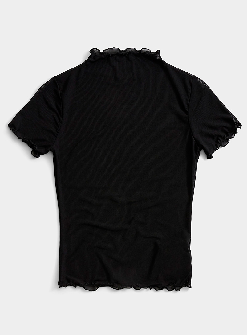 Ic?ne Black Ruffle trim tulle tee for women
