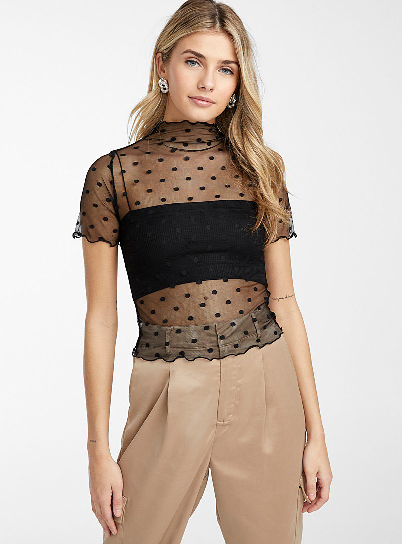 Ic?ne Black Dotted tulle tee for women