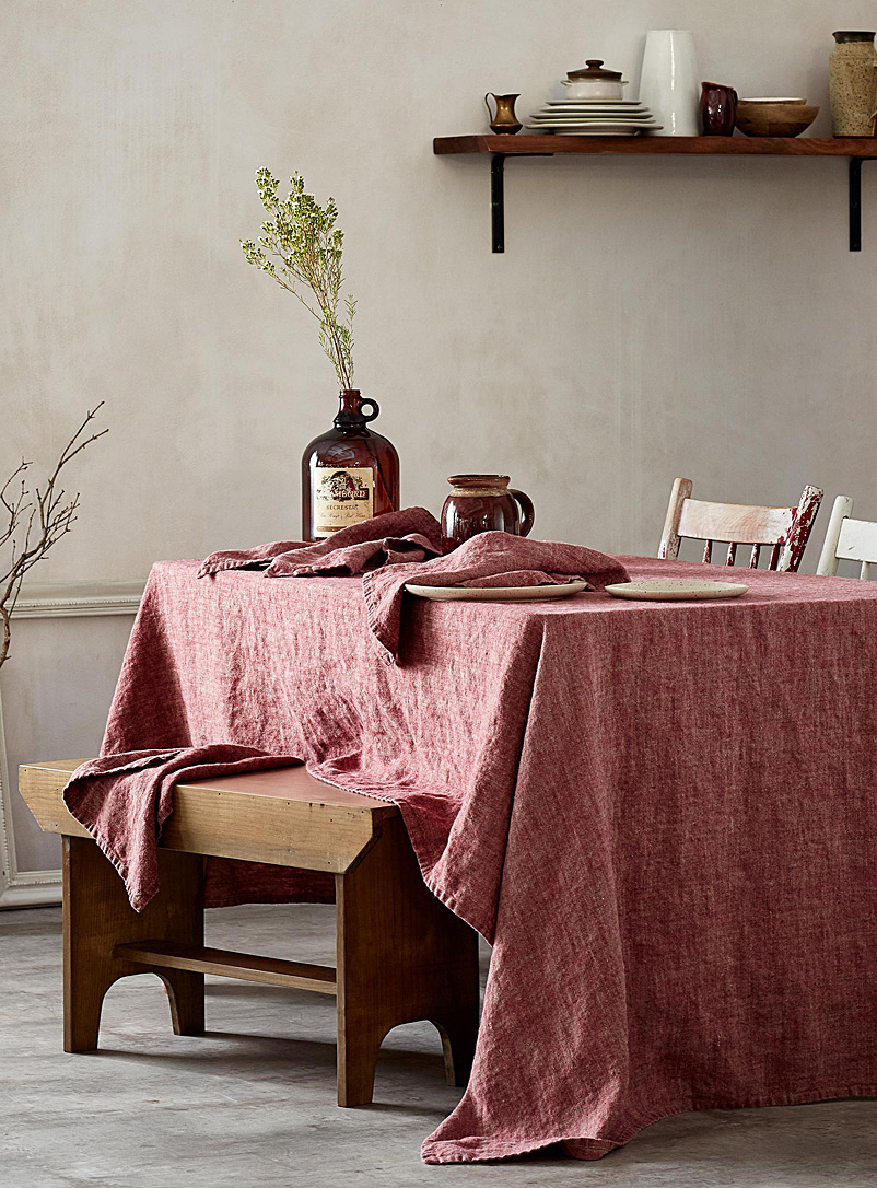Simons Maison Red Raw linen tablecloth