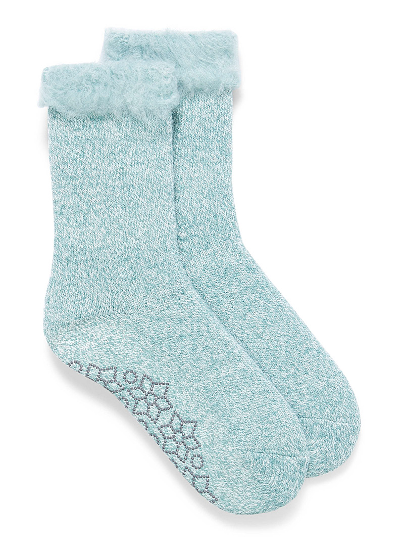 Simons Lime Green Fuzzy back heathered knit socks for women