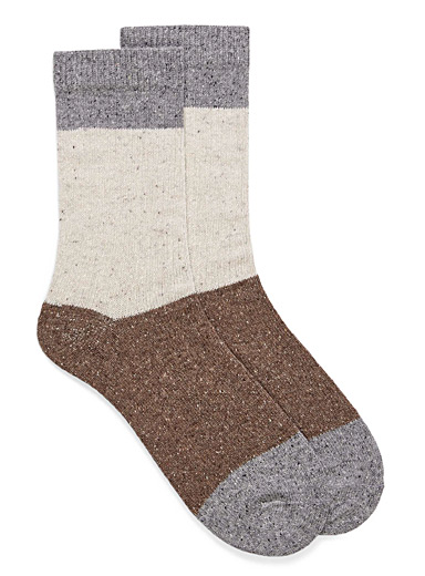 Folk block silky-wool socks