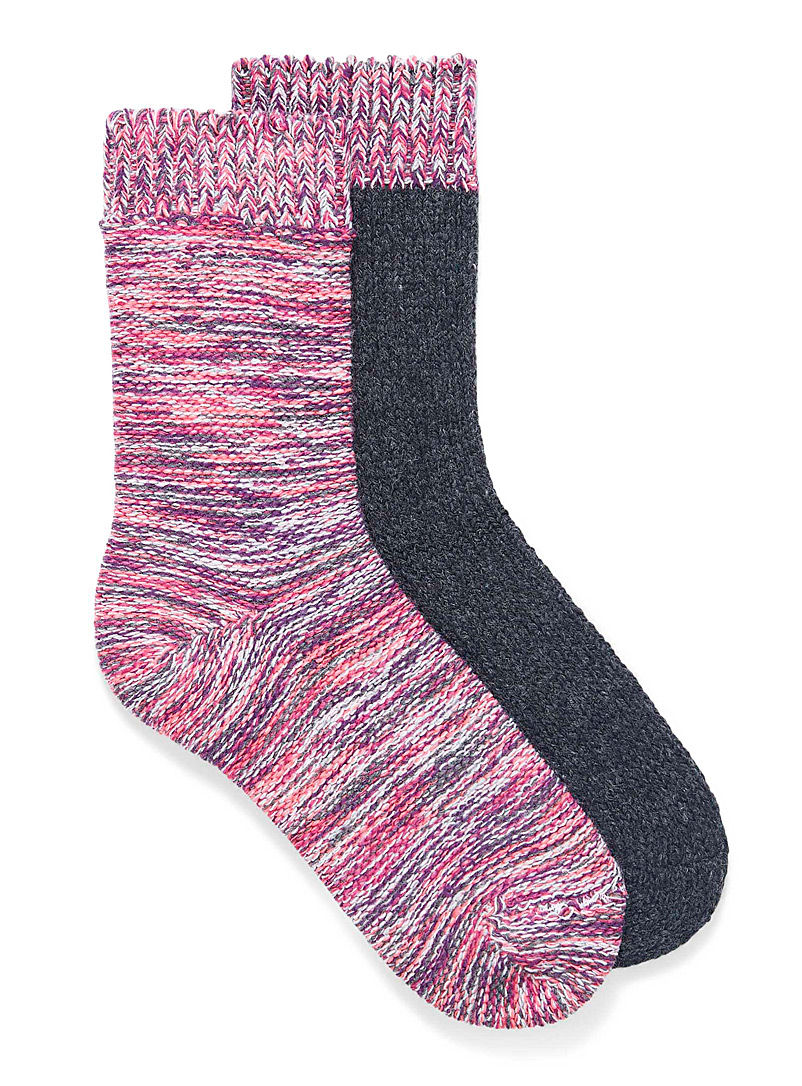 Simons Pink Multicolour knit socks  Set of 2 for women