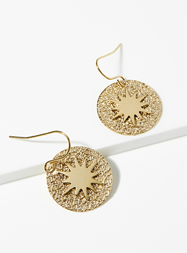 Solar medallion earrings