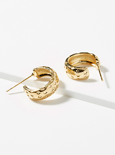 Zag Bijoux Gold Engraved star hoops for women