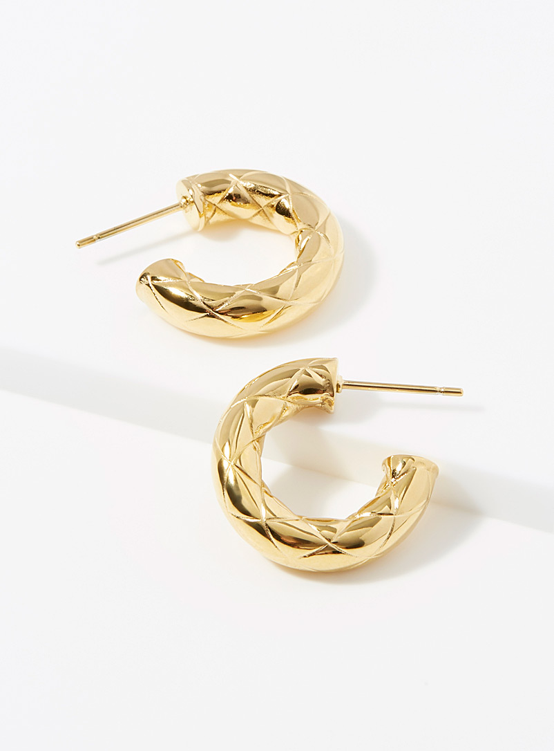 Zag Bijoux Gold Harlequin pattern hoops for women