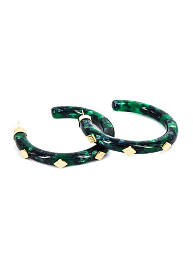 Zag Bijoux Patterned Green Embellished marbled hoops for women