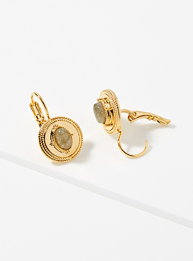 Sand and gold earrings