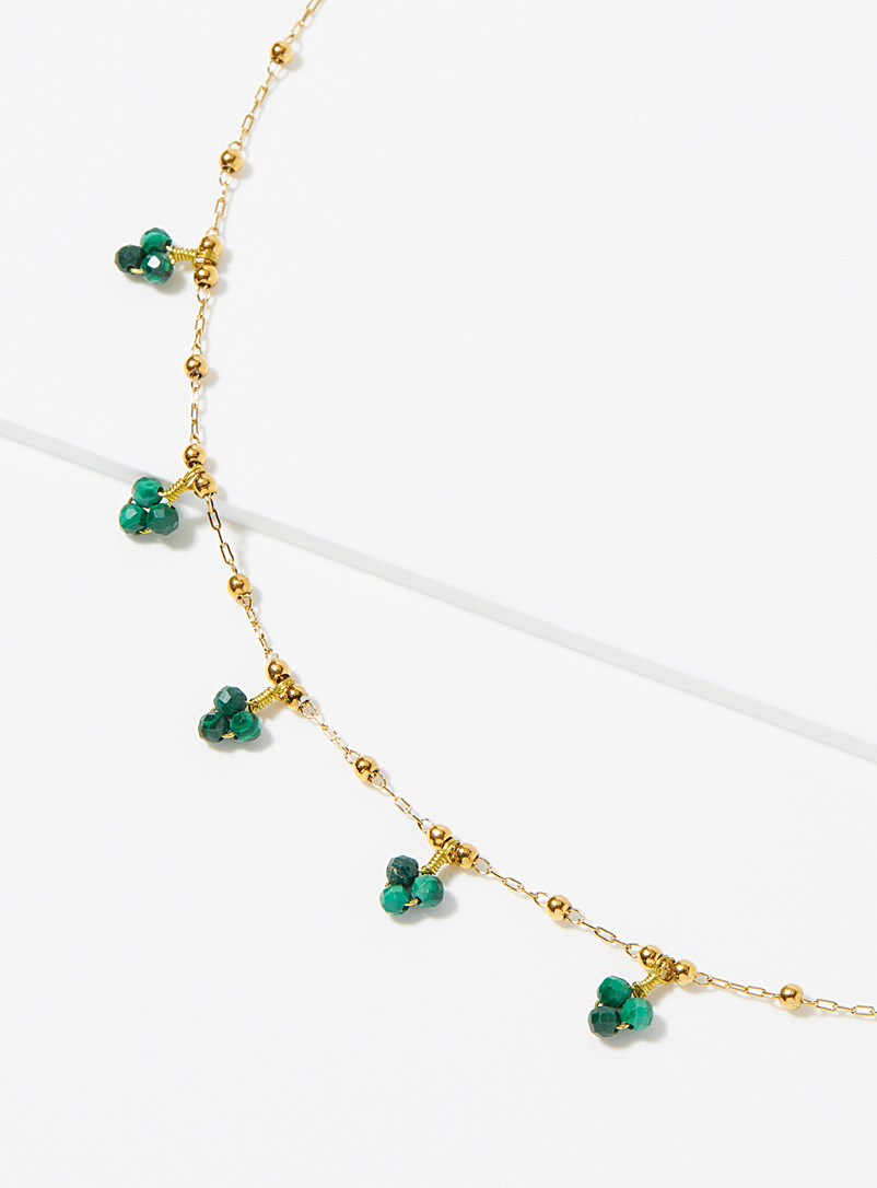 Zag Bijoux Assorted Green bead gold necklace for women