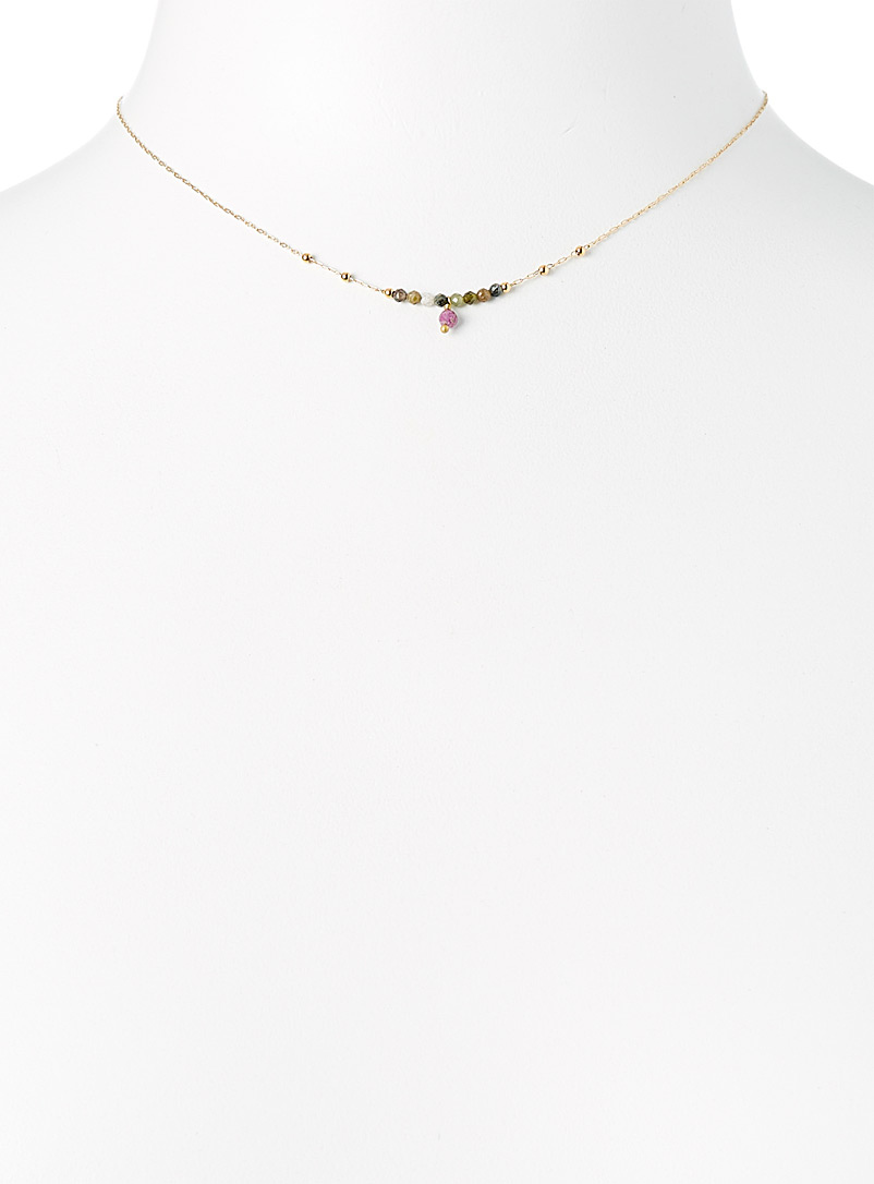 Zag Bijoux Assoted gold  Dazzling stone necklace for women