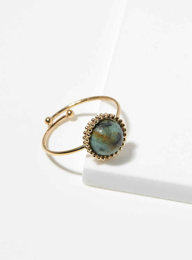Zag Bijoux Assorted gold  Turquoise cabochon ring for women