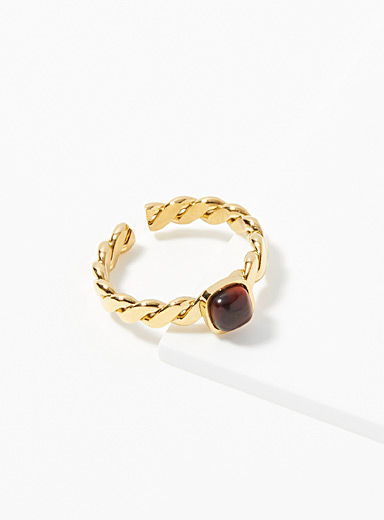 Zag Bijoux Assorted gold  Braided stone ring for women