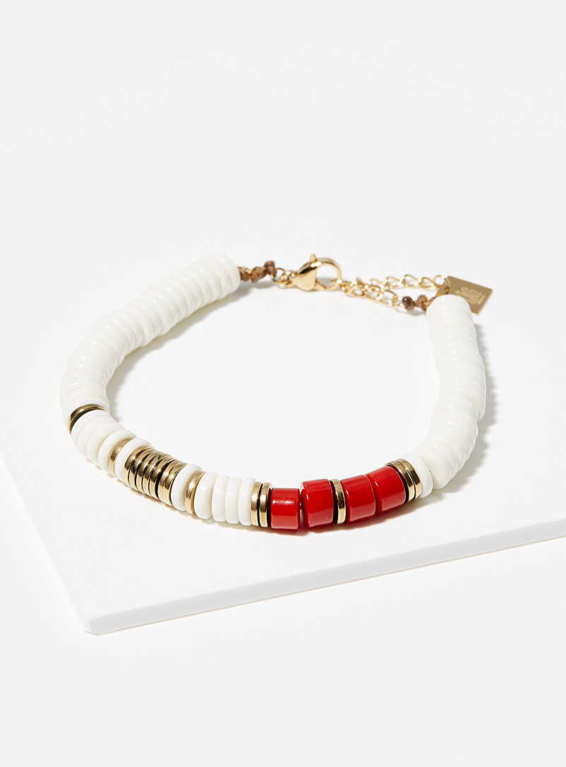 Red and gold stainless steel bracelet