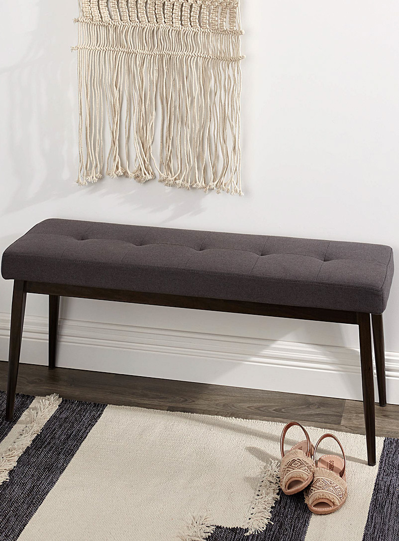 Simons Maison Dark Grey Narrow faux-walnut bench