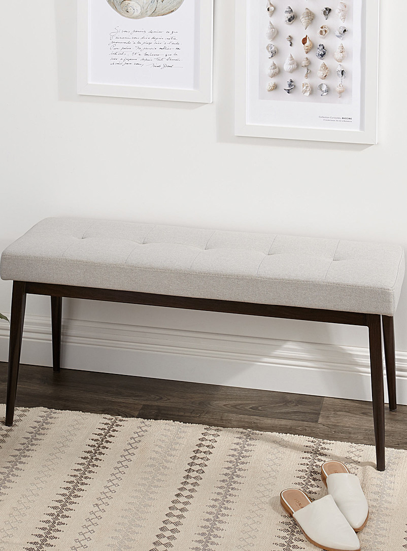 Narrow faux-walnut bench - Chairs, Stools & Benches - Light Grey