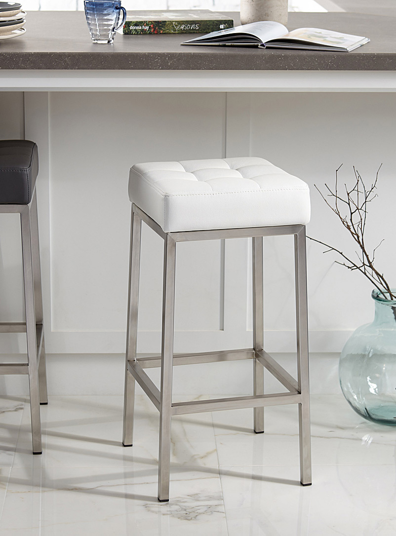 Simons Maison White Faux-leather stool