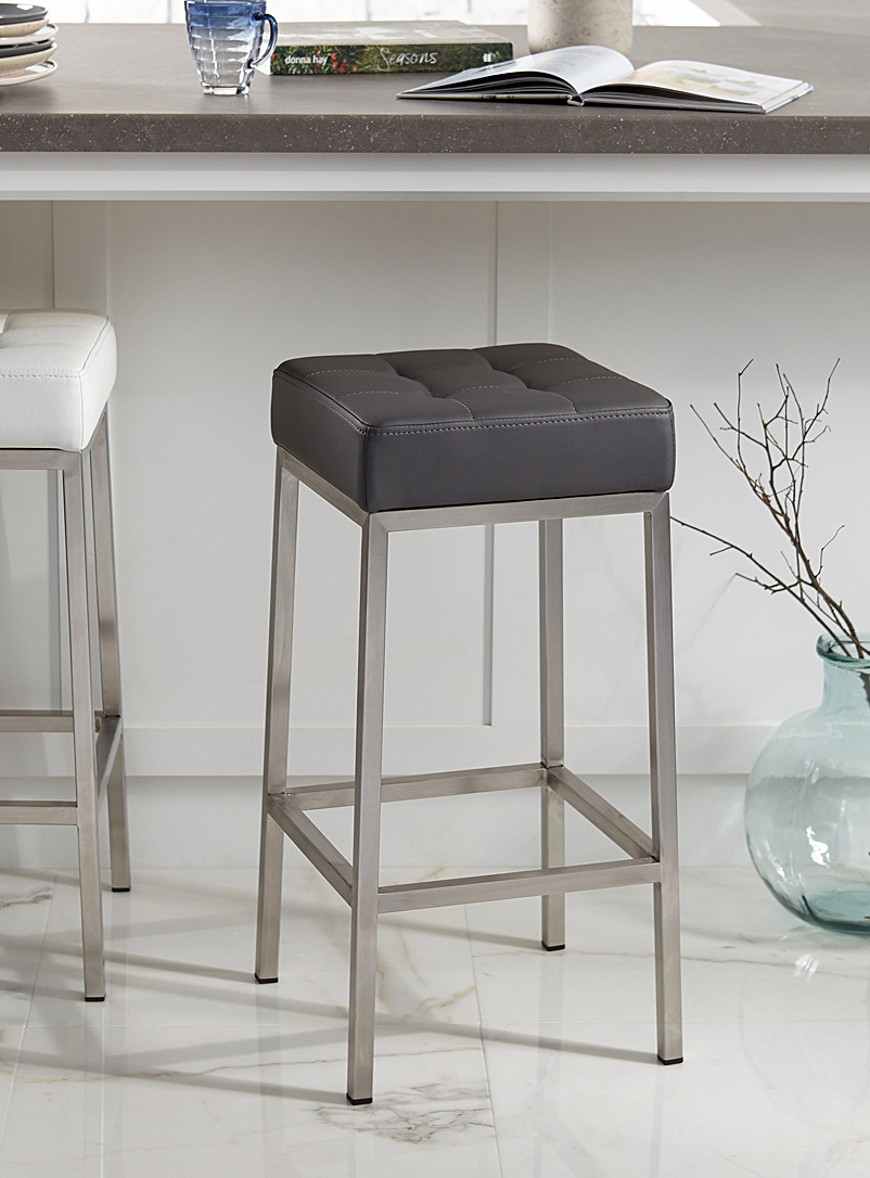 Faux-leather stool - Chairs, Stools & Benches - Grey