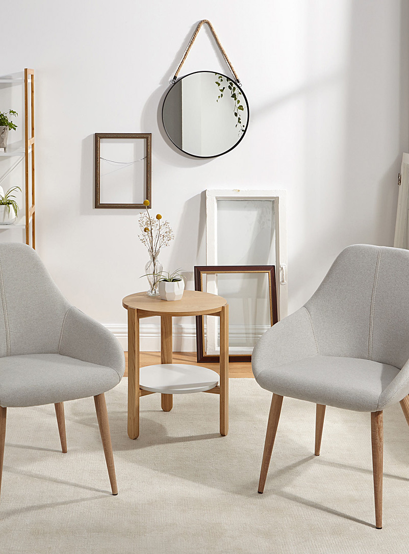 Modern chair with faux-oak feet  Set of 2