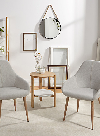 Modern chair with faux-oak feet <br>Set of 2
